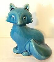 "Urban Trends Ceramic Fox Figurine Sitting Turquoise Blue Shiny 8""H x 6.5""L EUC"