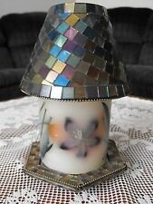 Multi-Colored Glass Candle Tray & Shade
