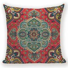 Moroccan Indian Cushion Cover. Blue, Red, Turquoise, Green, Yellow/Gold