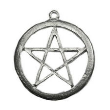 """Pagan Gothic 1.75"""" Necklace Pendant Artisan Pentagram Pentacle Distressed Wicca"""