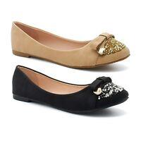 b6971626cf9e Womens Ballet Pumps Shoes Size Bow Casual Ladies Flat Dolly Ballerina  Diamante
