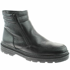 MENS ROAMERS FUR LINED ANKLE BOOTS WARM TWIN ZIP LEATHER M333A