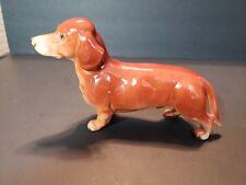 """Adorable Vintage Porcelain 8"""" DACHSHUND DOG Figurine Unmarked"""