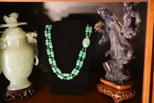 VINTAGE RARE VENDOME JADE GLASS DOUBLE STRAND NECKLACE 147.4 GRAMS EXCELLENT