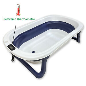Collapsable Baby Bathtub with Thermometre, Blue Foldable Shower Tub with Drain