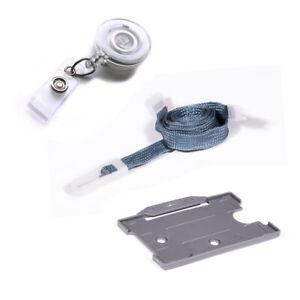 Neck Strap Lanyard Value Clip, ID Badge Card Holder & Retractable YoYo In Grey