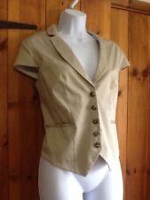 Button Cotton Blend No Pattern Regular Waistcoats for Women