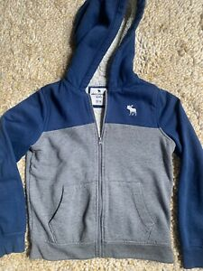 ABERCROMBIE KIDS SHERPA LINED HEAVY BLUE GRAY HOODIE JACKET SIZE YOUTH 15/16