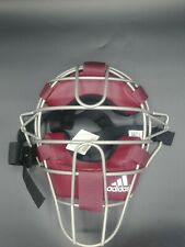 New Adidas Pro Issue Baseball Catchers Umpires Mask Burgundy Silver S13292