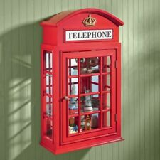Wall Curio Cabinet Glass Display Shelf Mirrored Wood British Red Telephone Booth