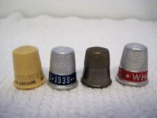 Lot of 4 Vintage Thimbles-3 Metal 1 Plastic-1939 CBS-White Sewing Machines