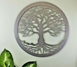 Tree Of Life Silver Metal Decor Wall Art Plaque Sculpture Ornament