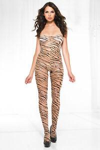 Tiger print spandex crotch less bodystocking