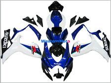ABS fairings for SUZUKI GSX R 600/760 06-07 2006 2007 blue and white colors