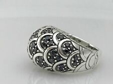 JOHN HARDY STERLING SILVER NAGA COLLECTION BLACK SAPPHIRE DOME DESIGNER RING