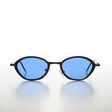 1b0712e72ef Style  Round. Blue Tinted Lens Black Metal 90s Vintage Sunglass - Jaden