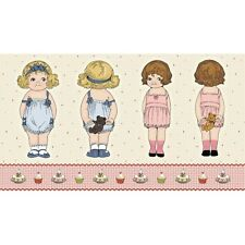 PAPER DOLLS fabric panel by Riley Blake 100% cotton SOFT TOY DOLL MAKING