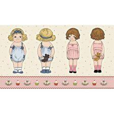 Panel de tela de muñecas de papel por Riley Blake 100% algodón suave juguete muñeca haciendo