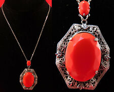 Vintage 1920s Art Deco Silver Plated Filigree Red Czech Glass Pendant Necklace