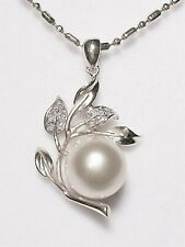 10mm white South Sea pearl pendant, diamonds, solid 14k white gold.SPECIAL OFFER