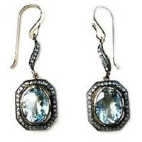 Victorian 1.00 Ct Rose Cut Diamond Blue Sapphire 925 Sterling Silver Earrings