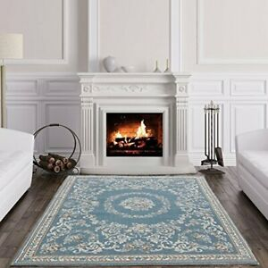 The Rug House Echo Blue Traditional Easy Living Classic Floral Damask Living...