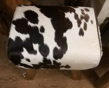 POMMEL Horse Foot Low Stool in Brown & White Cow Hide Leather Natural Wood Leg