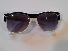 Vintage Deco White and Black Sunglasses Made In Mauritius