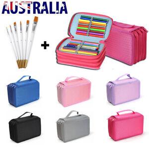 Color Sketch Pen Pencil Holder Case Makeup Organizer Storage Bag + Oil Brushes