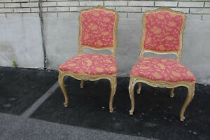 Beautiful Pair of French Louis Hand Painted Carved Accent Chairs, New Upholstery
