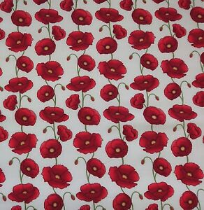 Poppy White 100% Cotton Poplin floral Dress bunting quilting Craft Fabric