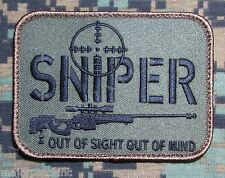 SNIPER OUT OF SIGHT MIND FOREST USA ARMY MILITARY TACTICAL HOOK MORALE PATCH