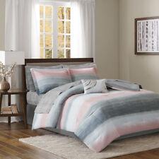 BEAUTIFUL MODERN CHIC CASUAL SOFT GREY WHITE PINK COMFORTER & COTTON SHEETS SET