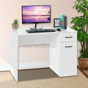 White Office Computer Desk Writing Table PC Laptop Desktop with Drawers Shelf US