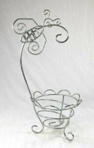 Unique Rare Butterfly Wire Art Chrome Bathroom Organizer Basket Hanger