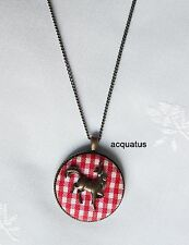 Monsoon Accessorize Necklace Collection Copper Horse Chequered Plaid Red