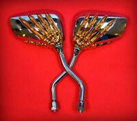 Mirrors Skull Hands of Skeleton Gold & Chrome - Motorcycle Skeleton Mirror