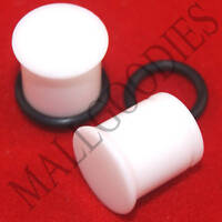 1307 White Acrylic Single Flare 00 Gauge 00G Ear Plugs 10mm MallGoodies 1 pair