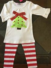 Christmas Outfit size 18 24 months 80 NWT Striped leggings tree Shirt Top New