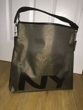 DKNY.Black&Gold Canvas Webbing.Hand bag.Active Logo.Hobo.Tote.Quality.New.RARE.