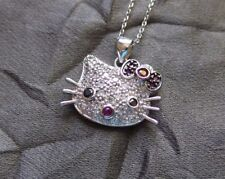 Stunning Vintage Sterling Silver Hello Kitty Necklace and Pendant /w Rhinestones