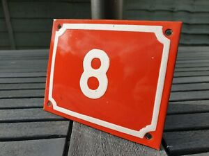 Antique Metal Number 8 Enamel Sign House Door Placque 15cm x 12cm