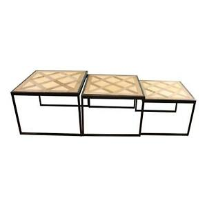 Set Of 3 Square Black Metal Side Tables With Wooden Geometric Tops