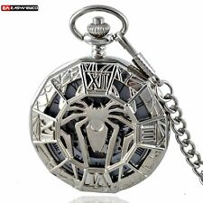 Silver Spider Mechanical Stainless Steel Pocket Watch Chain Gift Antique Wind Up