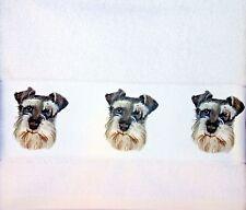 SCHNAUZER DOG QUALITY COTTON HAND/GUEST TOWEL SANDRA COEN ARTIST PRINT DESIGN