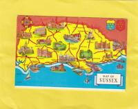 POSTCARD MAP of    SUSSEX  ( 37g )