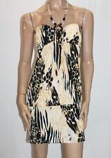 Cristinalove Designer Animal Print Beaded Halter Dress Size L BNWT #SQ45