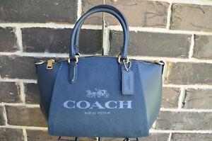 NWT $275 Coach Elise Denim Leather C3970 Horse and Carriage Satchel black