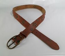American Eagle Outfitters Leather Belt Studded Flower Distressed Brown Large 38