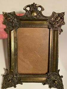 Ornate ANTIQUE Metal Picture Frame Gold Gilt, Metal Swing Easel, Metal Buttons